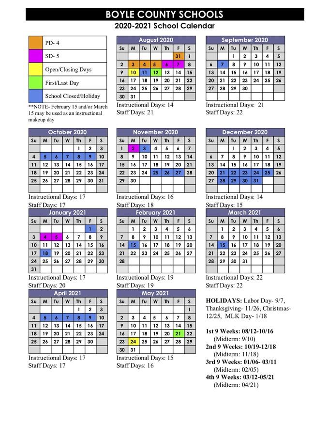 City Tech Spring 2022 Calendar.2020 2021 School Calendar Released Boyle County High School