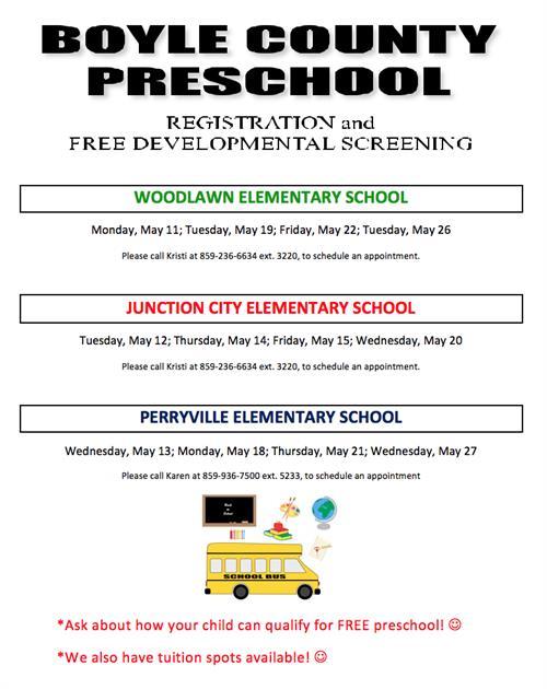 Free Talk Thursday May 14th In >> Preschool Registration And Developmental Screening Dates Boyle