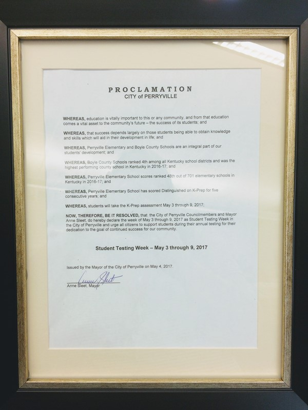 A Proclamation from the City of Perryville was presented to the staff and students of PES.