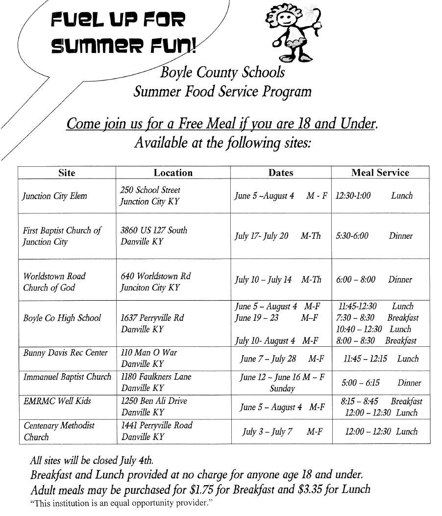Summer Food Service Schedule
